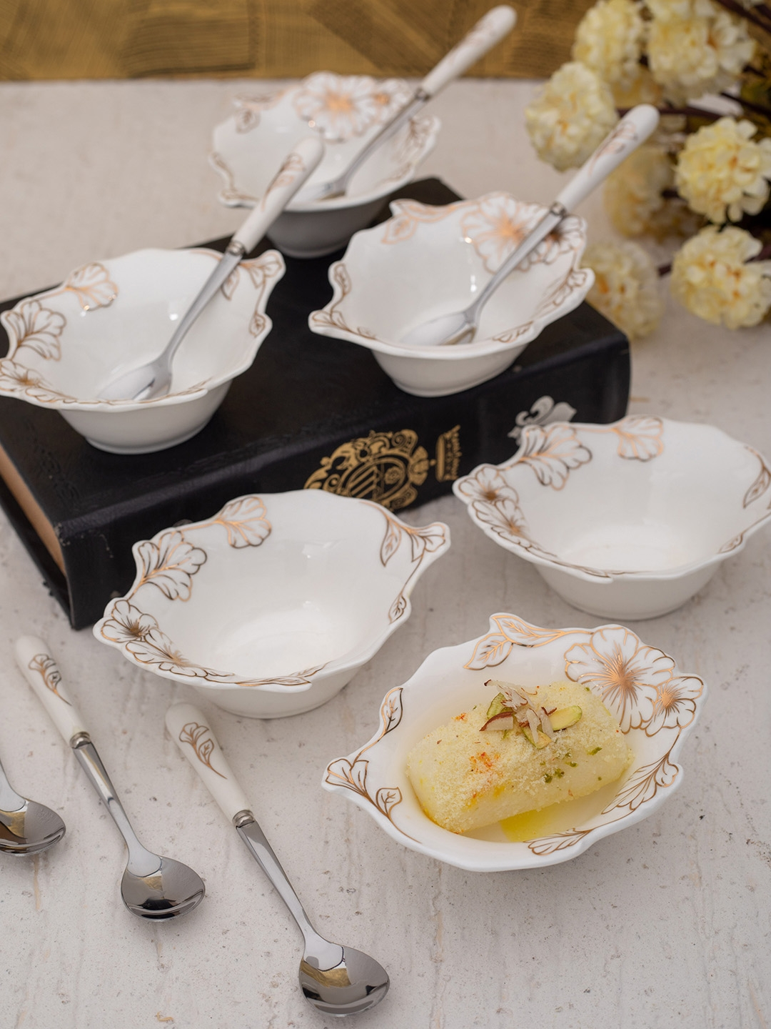 White Gold Set Of 12 White Porcelain Dessert Bowls n Spoons with Real Gold Design