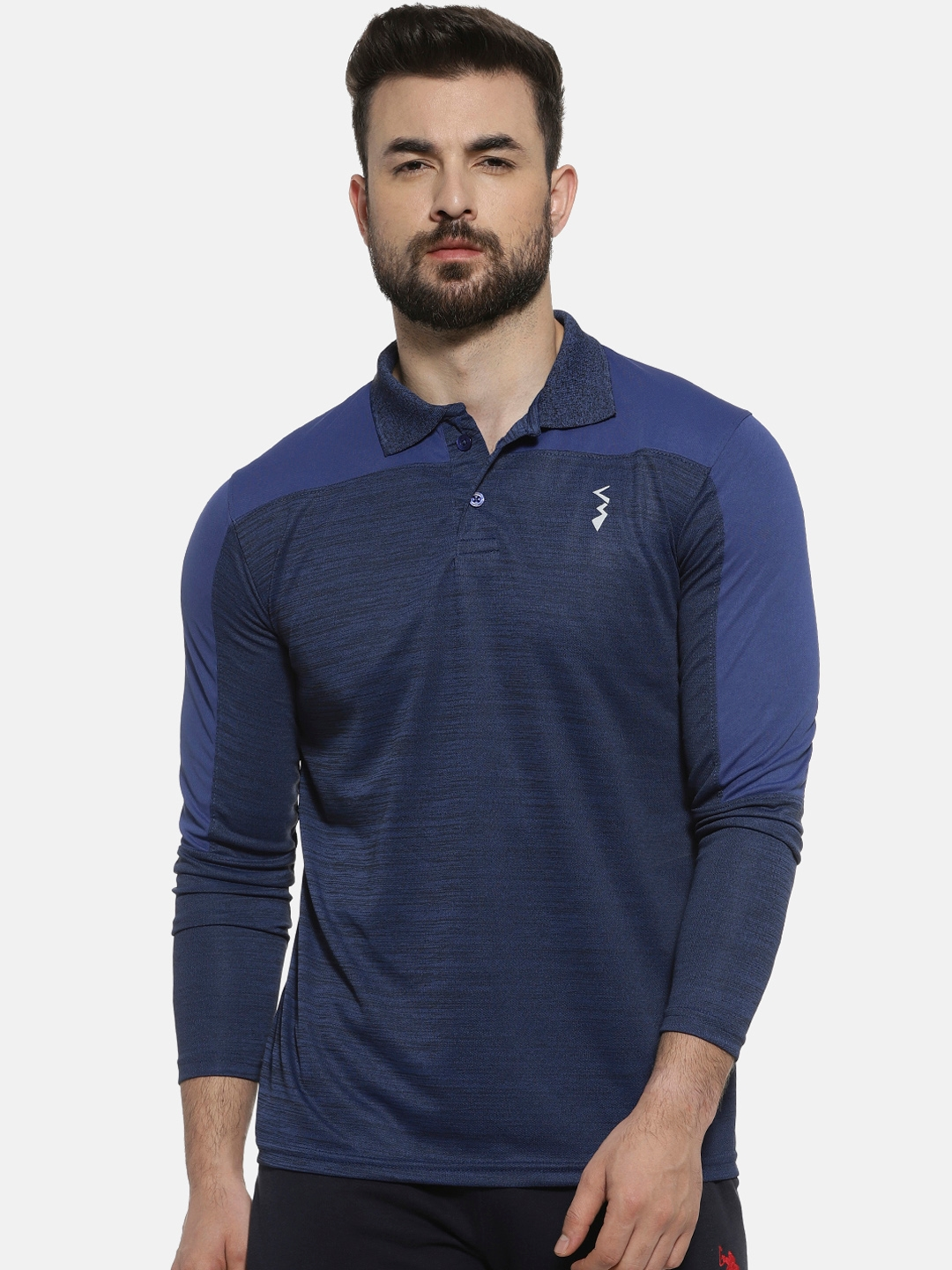 Campus Sutra Men Blue Solid Polo Collar T shirt