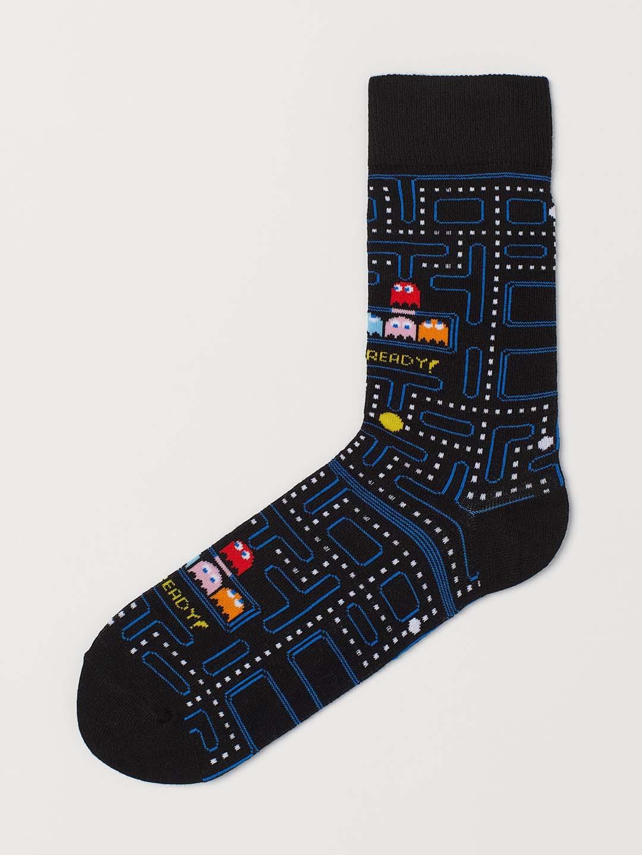 H M Men Black Patterned Pac Man Socks