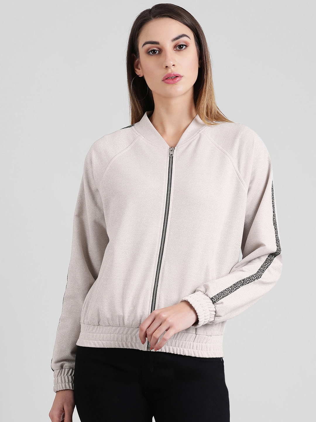 Zink London Women Off White Solid Bomber Jacket