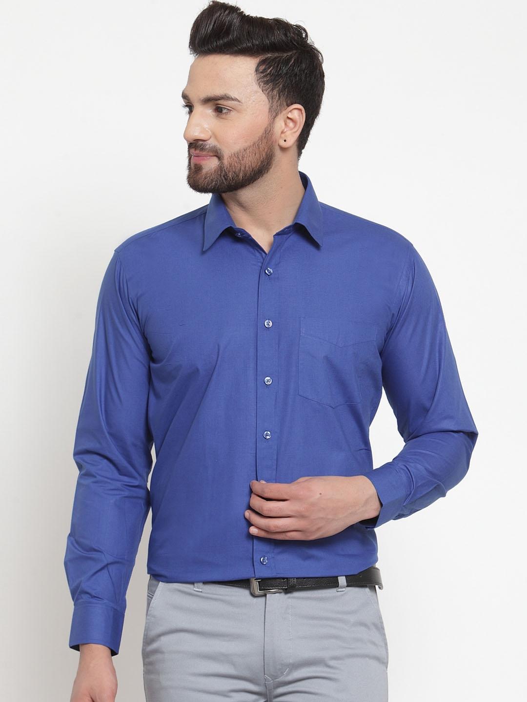Hancock Men Blue Solid Slim Fit Formal Shirt