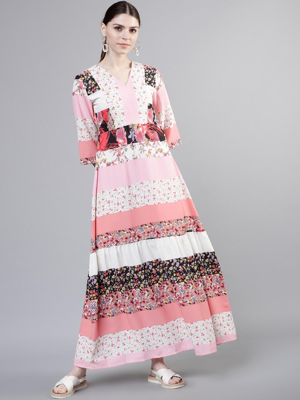 Tokyo Talkies Women White Printed Maxi Dress