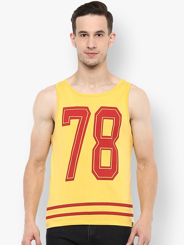 Urbano Fashion Men Yellow Printed Round Neck T shirt