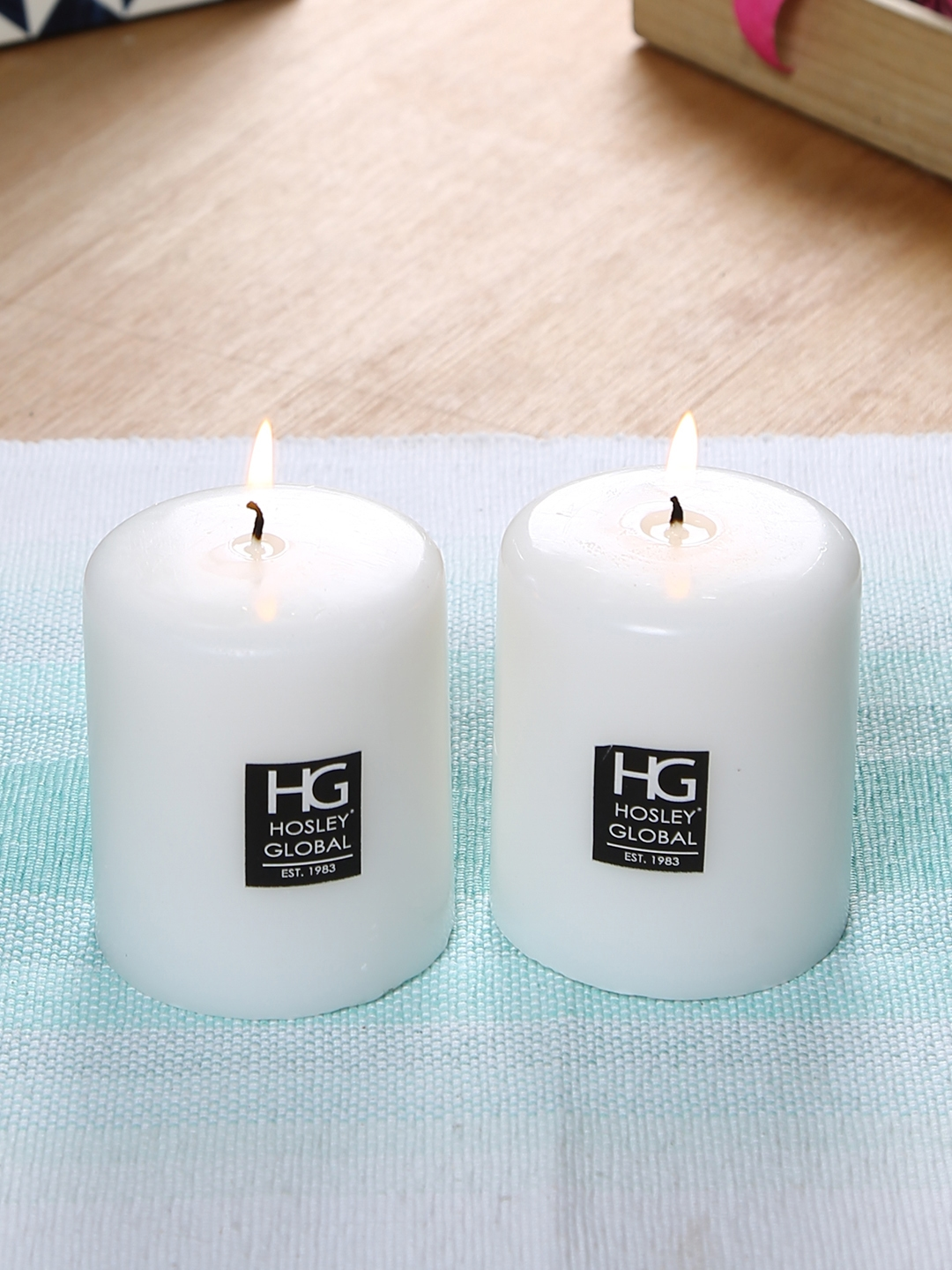 HOSLEY Set of 2 White Unscented Pillar Candles 10 cm