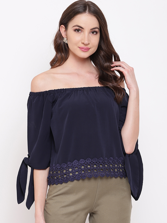 Mayra Women Navy Blue Solid Lace Detailed Bardot Top