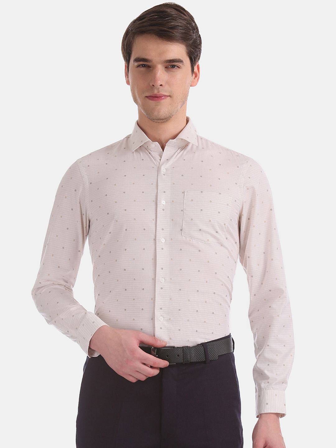 Arrow New York Men Beige Slim Fit Printed Formal Shirt