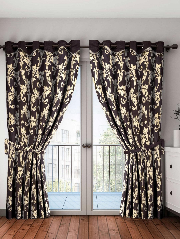 Home Sizzler Brown   Beige Set of 2 Floral Door Curtains