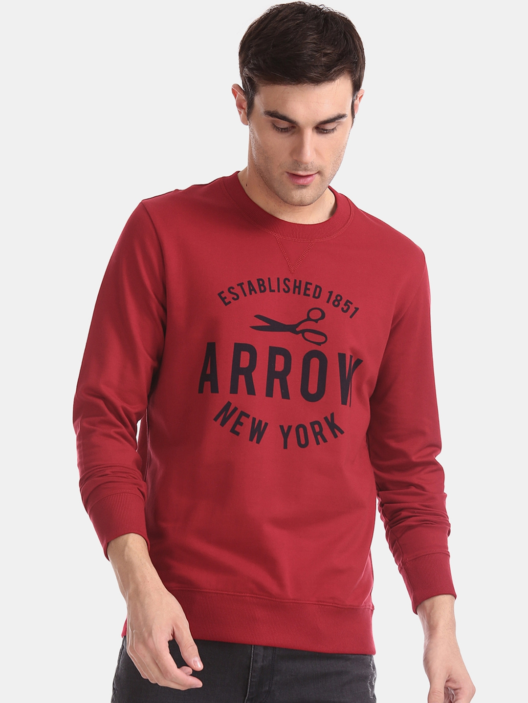 Arrow Sport Men Red   Black Printed Sweatshirt