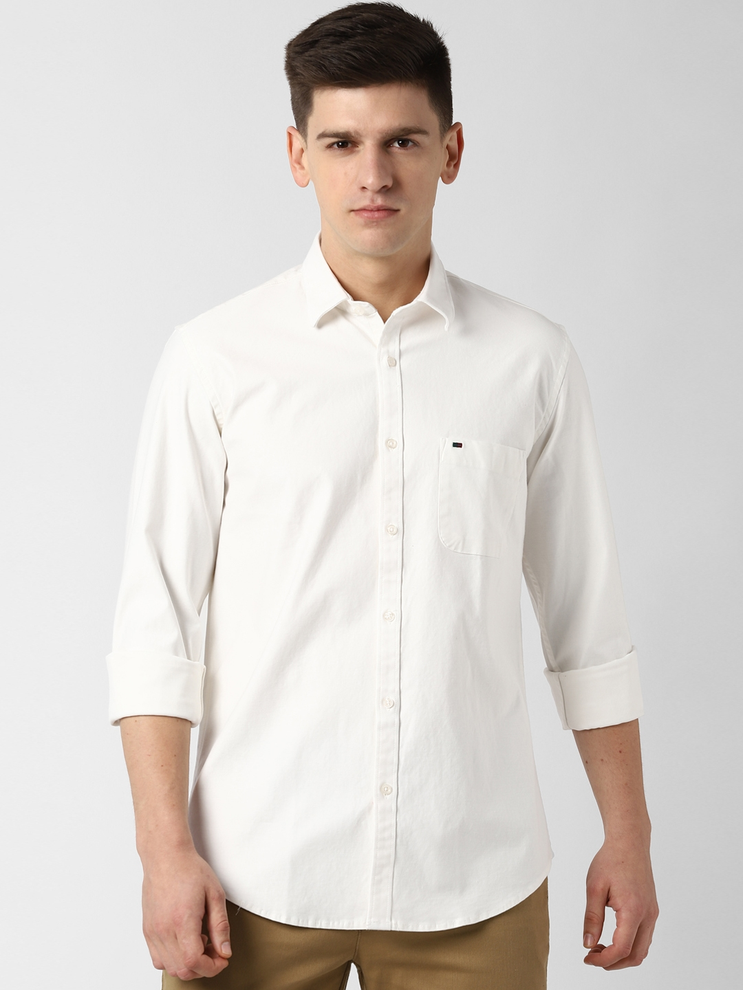 Peter England Casuals Men White Slim Fit Solid Casual Shirt