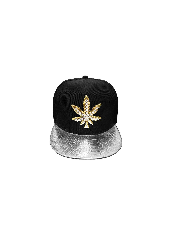 Knotyy Men Black   Silver Toned Embellished Snapback Cap