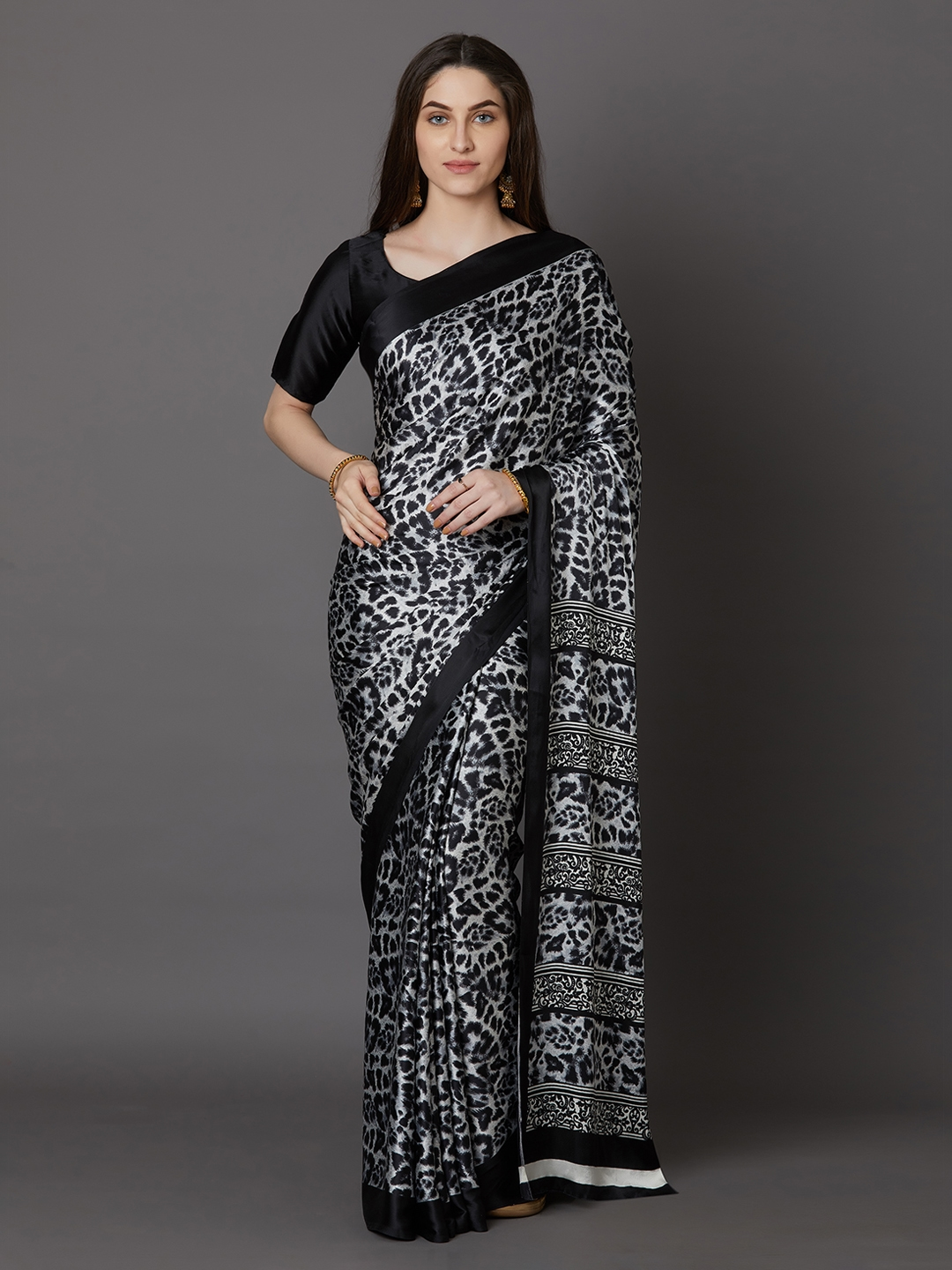 Mitera Black Printed Poly Crepe Saree