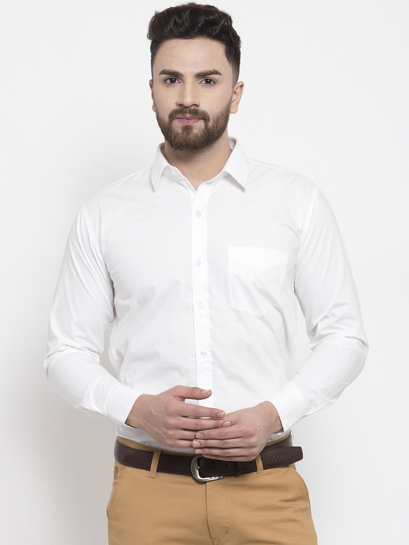 Hancock Men White Slim Fit Solid Formal Shirt