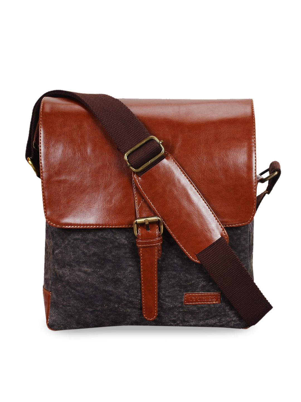 Lychee bags Men Grey   Brown Colourblocked Messenger Bag