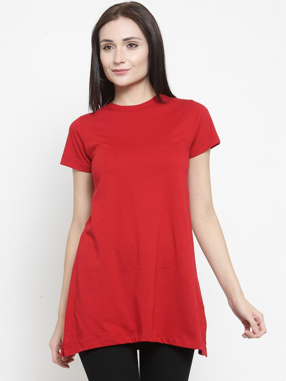Kalt Women Red Solid Tunics