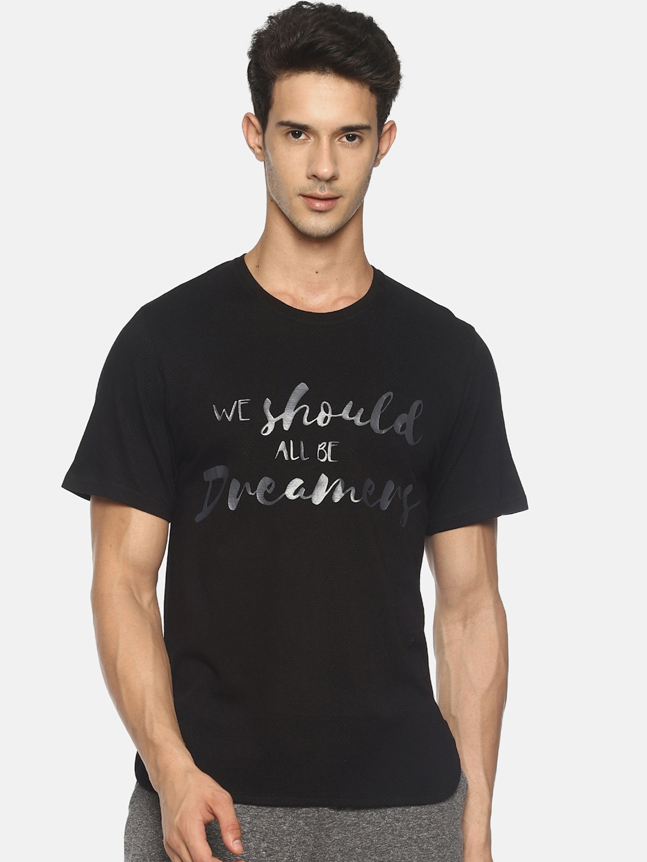 Soul Space Men Black Printed Round Neck T shirt