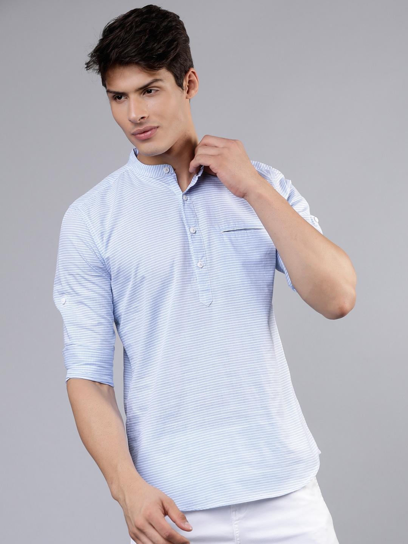 LOCOMOTIVE Men Blue   White Slim Fit Striped Casual Shirt