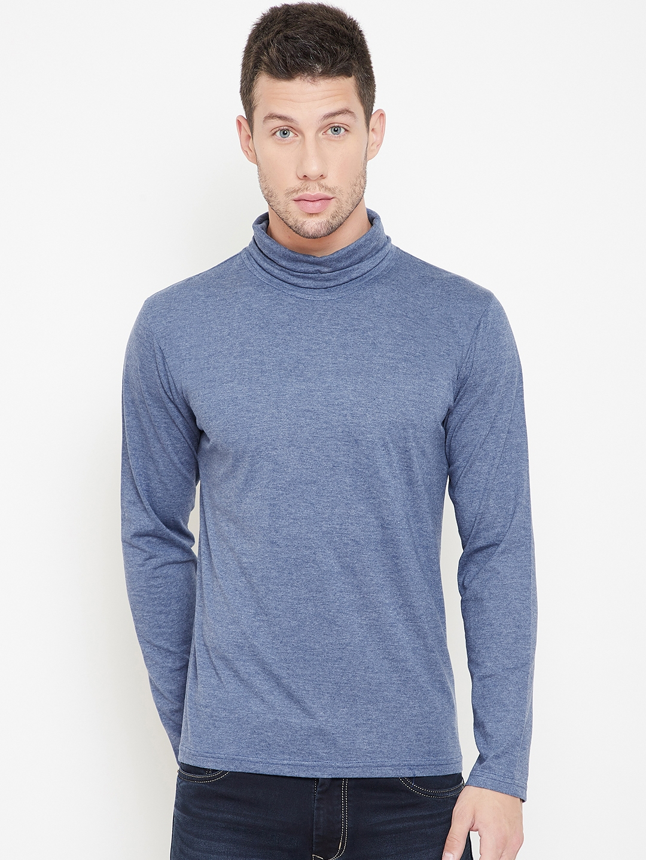 GRITSTONES Men Blue Solid Turtle Neck T shirt