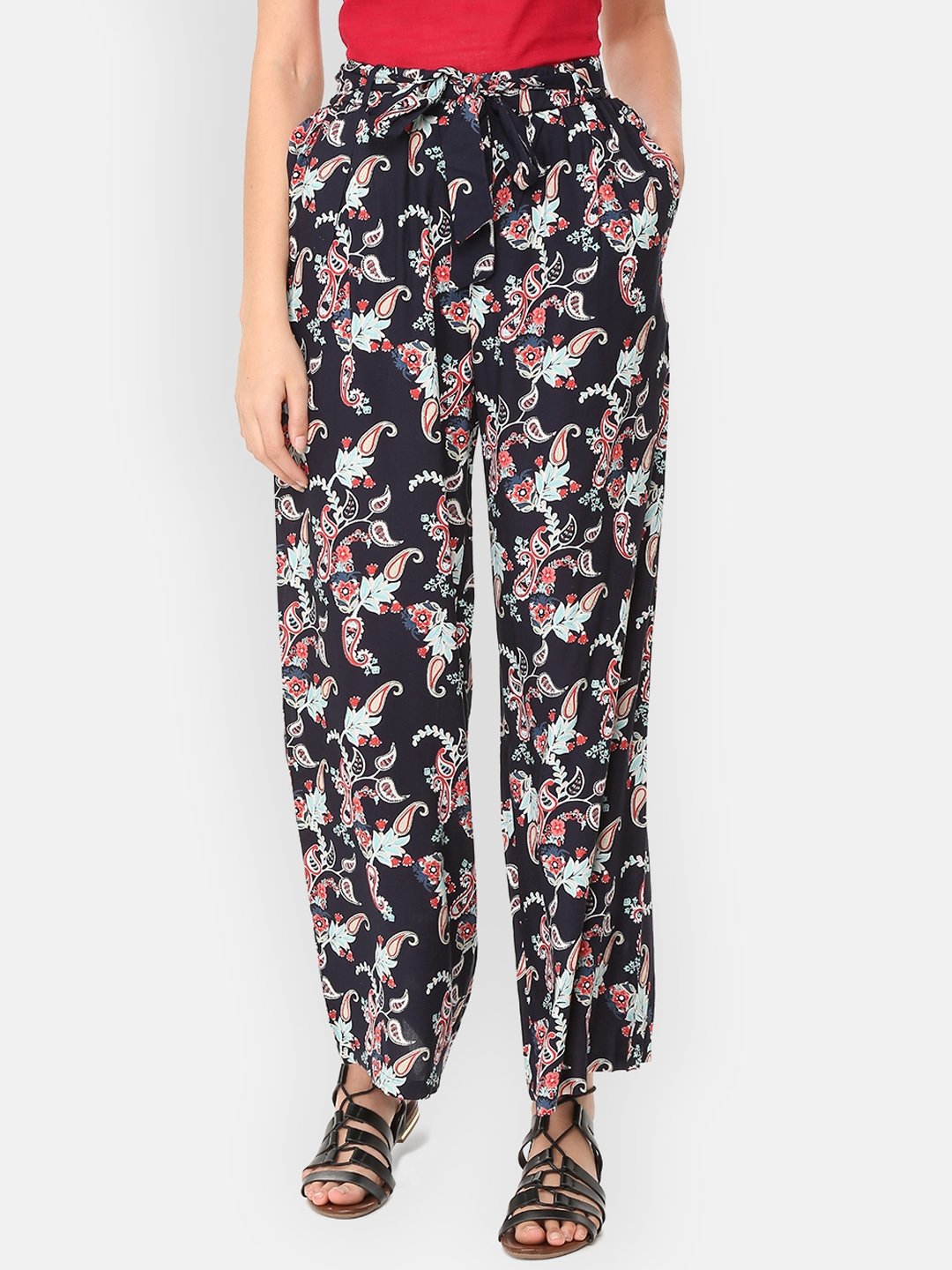 People Women Navy Blue   Red Printed Regular Fit Parallel Trousers