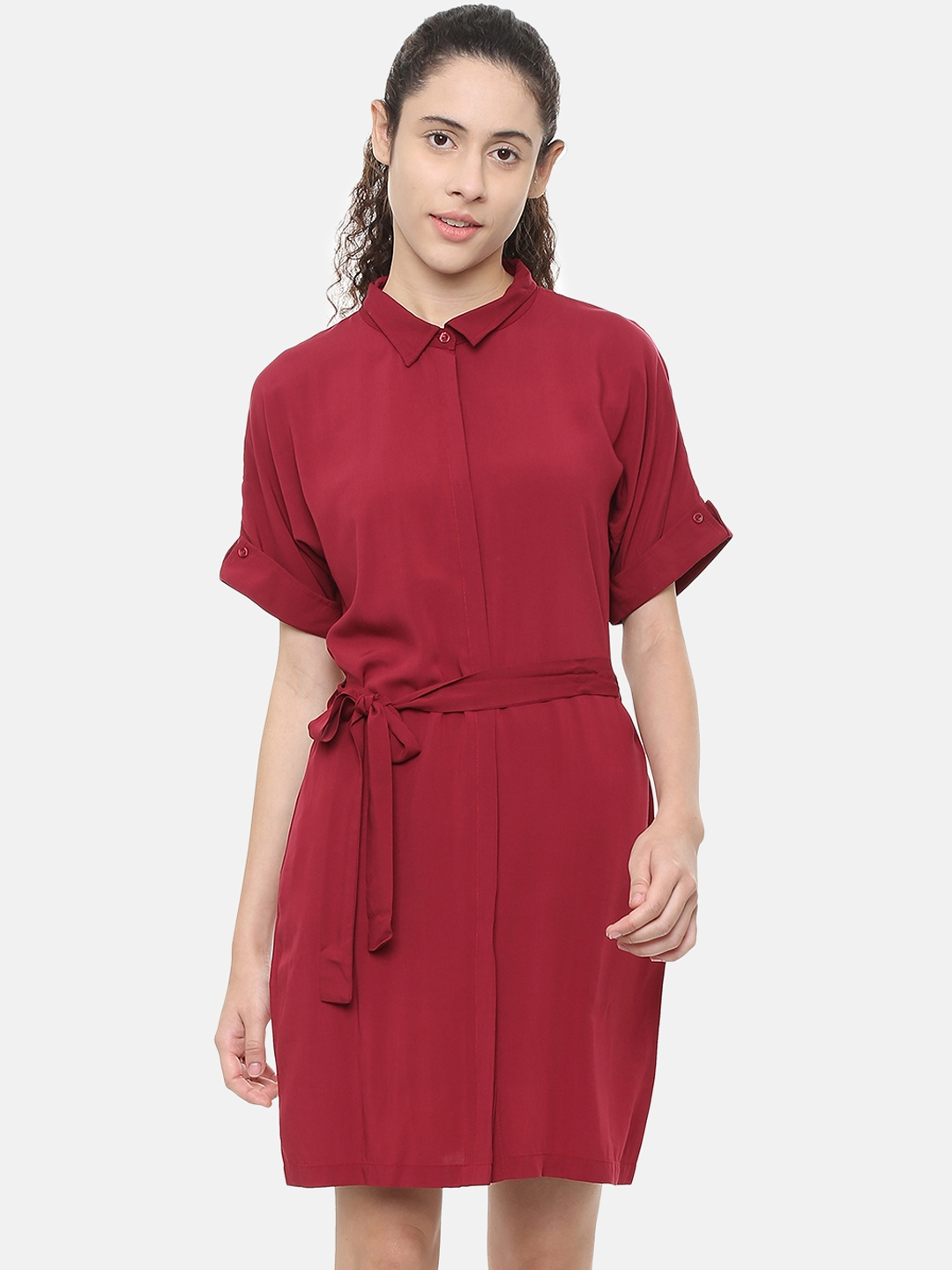 Allen Solly Woman Maroon Solid Shirt Dress