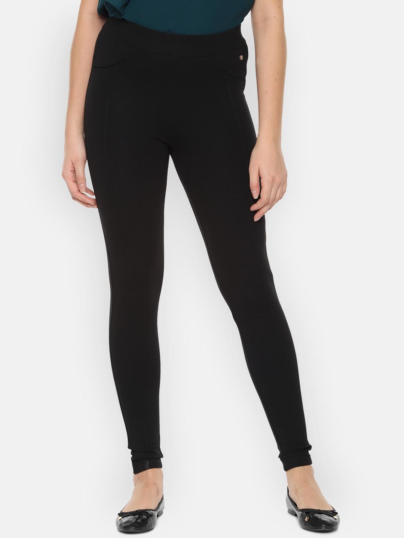 Allen Solly Woman Women Black Regular Fit Solid Regular Trousers