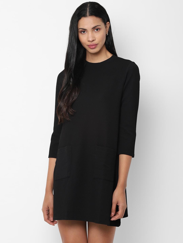 People Women Black Solid A Line Dress