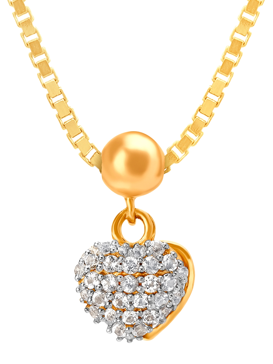 Mia by Tanishq 14KT Yellow Gold Heart Shaped Embellished Charm