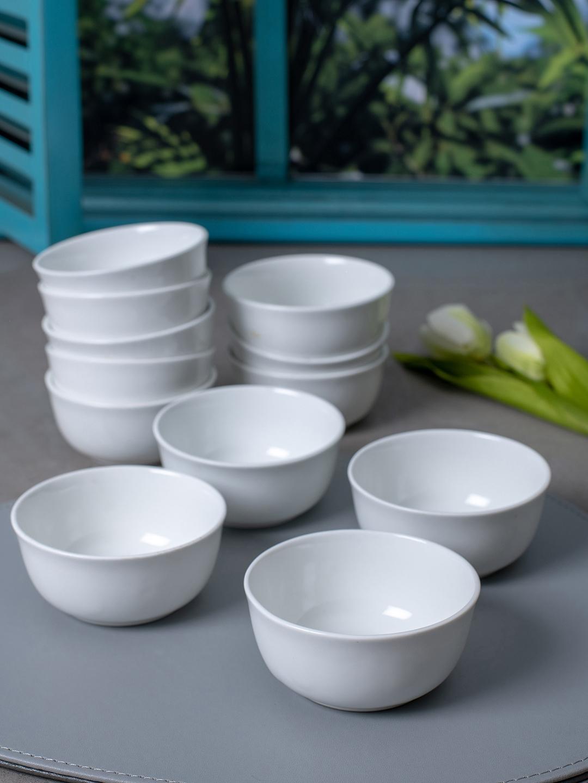 SONAKI White 12 Pieces Solid Bone China Bowls Set