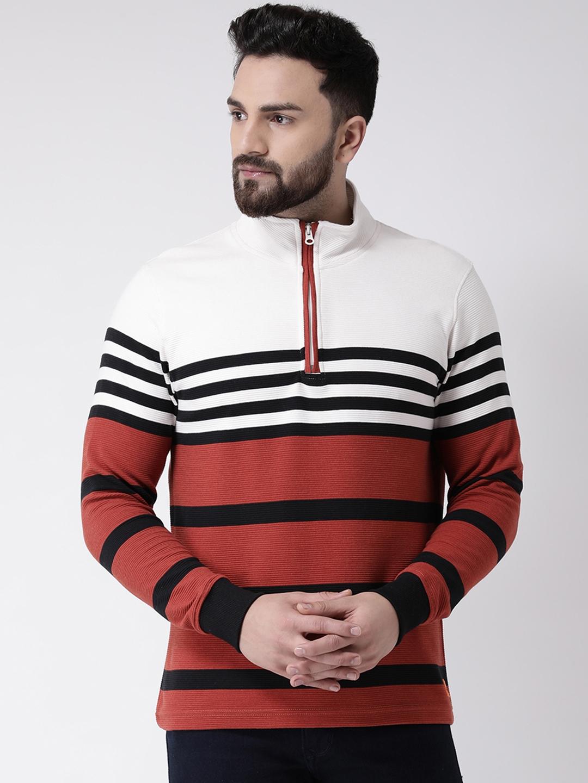 Club York Men White   Rust Striped Sweatshirt