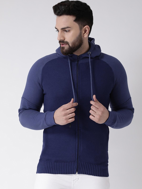 Club York Men Blue Solid Hooded Sweatshirt