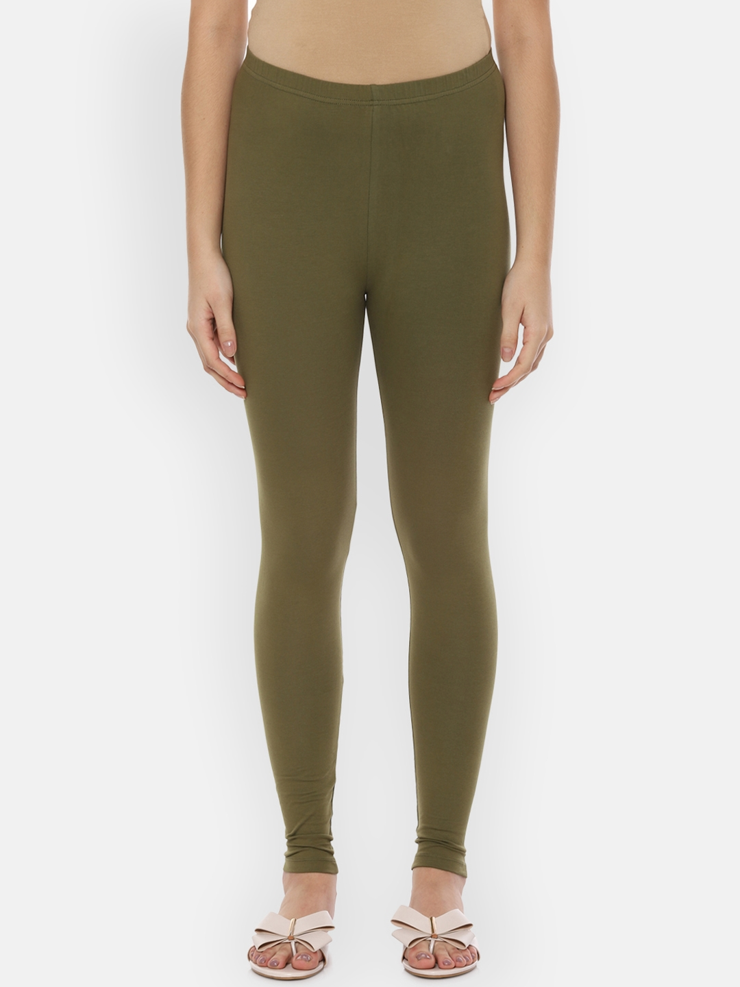 People Women Olive Ankle Length Leggings