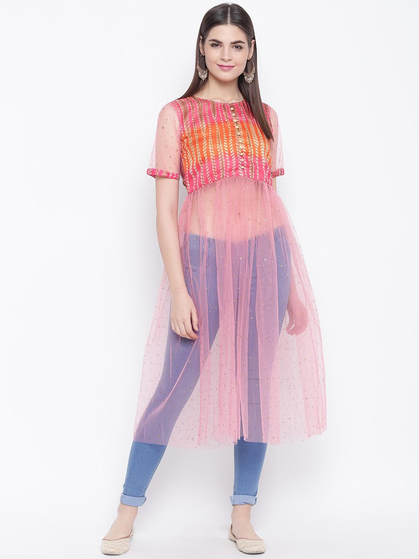 Shakumbhari Women's Pink   Orange Printed Tunic