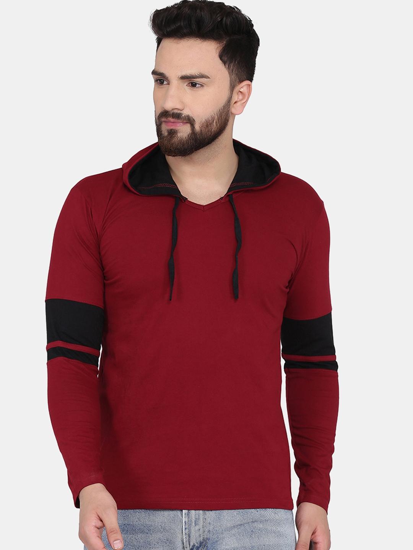 KATSO Men Maroon Solid Hooded T shirt
