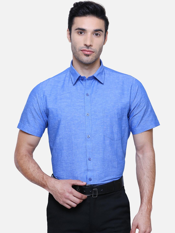 Southbay Men Blue Smart Slim Fit Solid Formal Shirt