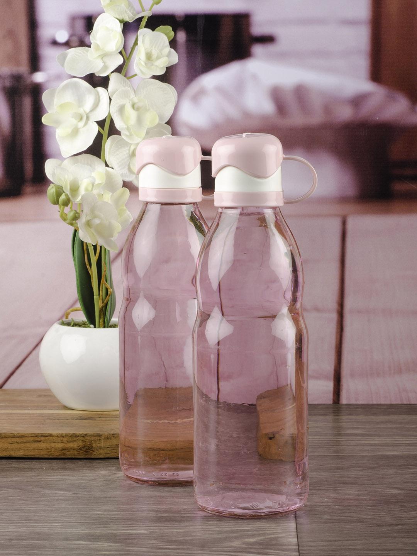 GOODHOMES Set of 2 Pink   White Glass Water Bottles 500ml