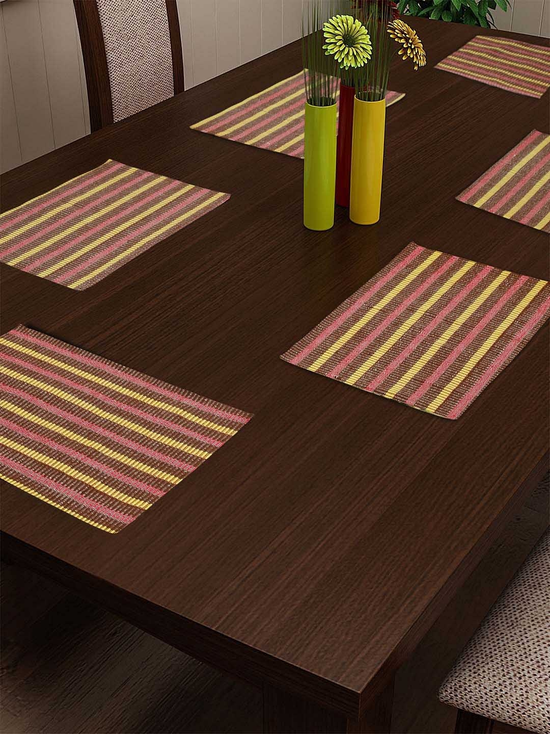 KLOTTHE Brown   Red Set of 6 Striped Table Placemats
