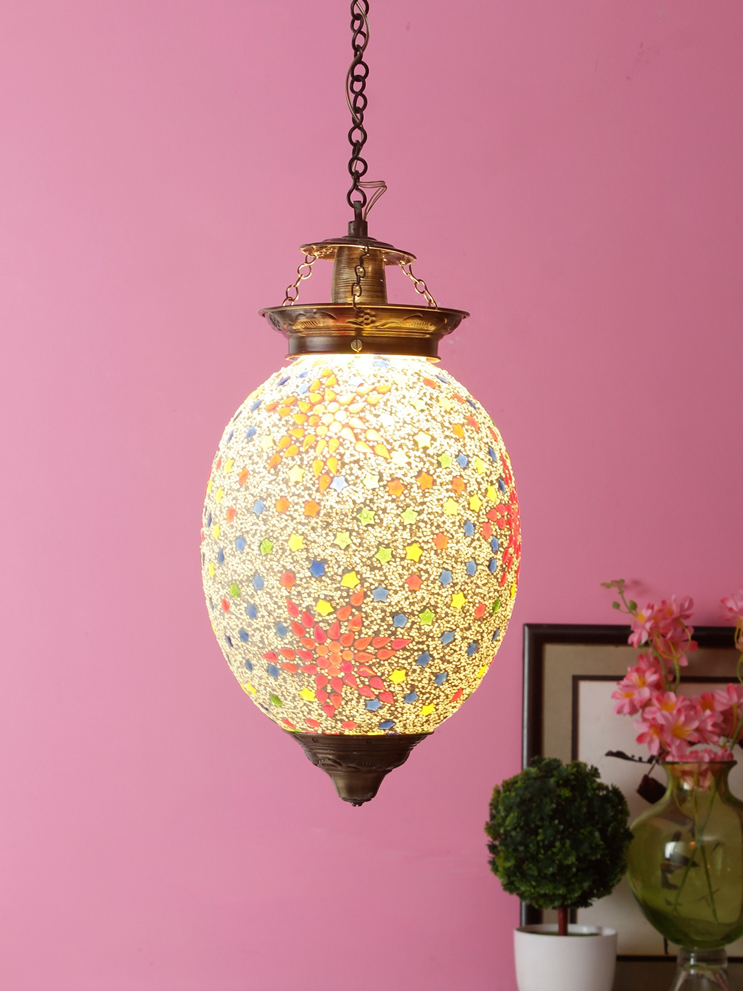 Aesthetic Home Solutions Gold Toned Textured Pendant Ceiling Lamp