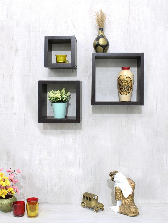 RANDOM Brown Set of 3 MDF Basic Wall Shelf