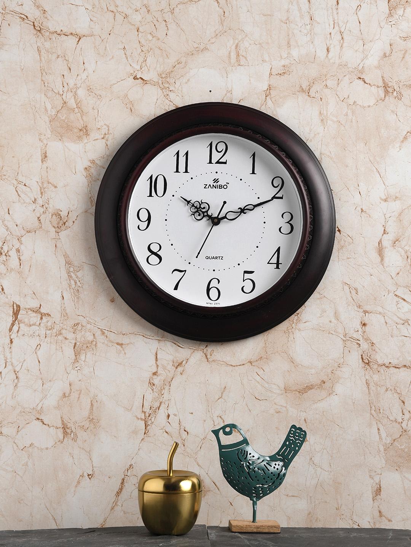 ZANIBO Coffee Brown   White Round Solid 40 cm Analogue Wall Clock