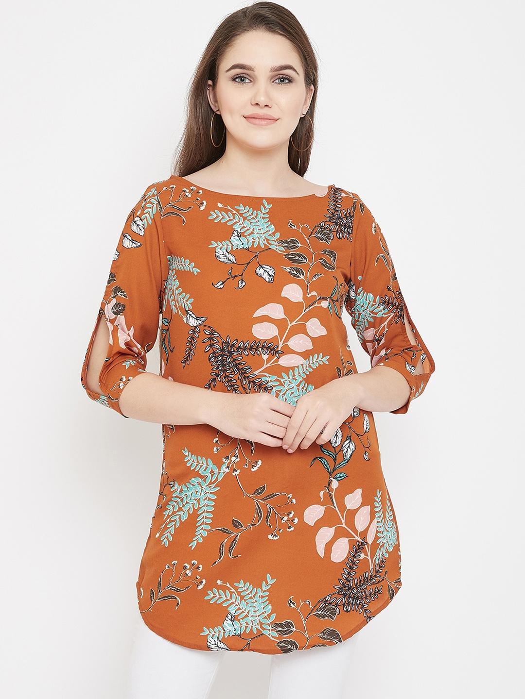 Ruhaan Women Rust Brown Printed Tunic