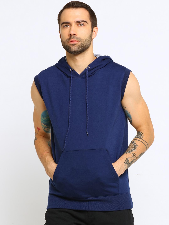 Maniac Men Navy Blue Solid Hooded Sweatshirt