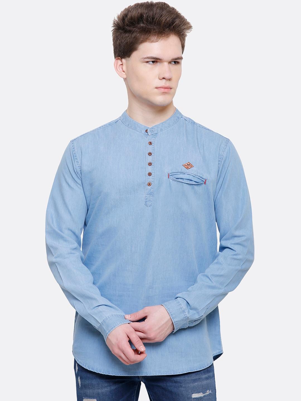 Kuons Avenue Men Blue Smart Slim Fit Solid Casual Denim Shirt