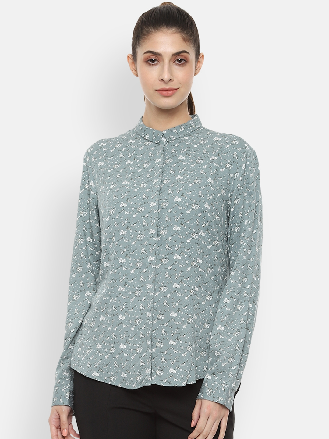 Van Heusen Woman Sea Green Regular Fit Printed Formal Shirt