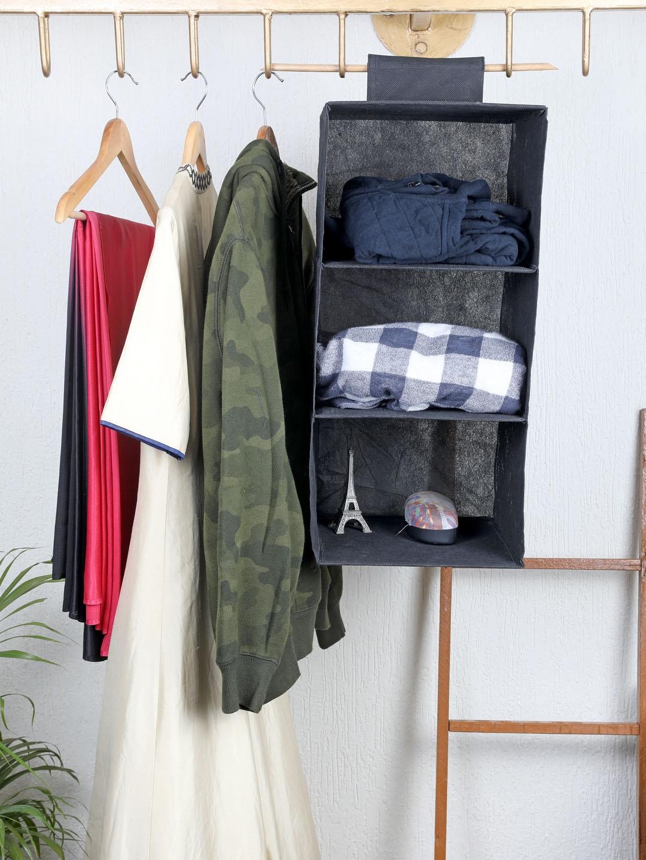 My Gift Booth Black Solid 3 Shelves Hanging Wardrobe Organiser