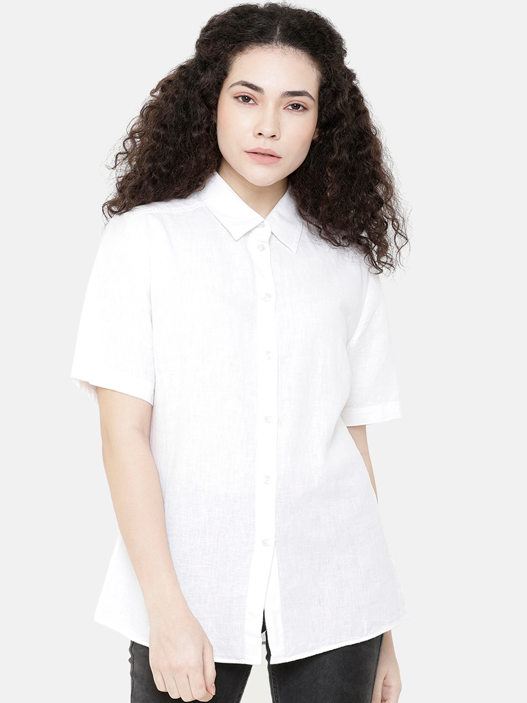 Double Two Women White Standard Solid Regular Fit Casual Shirt