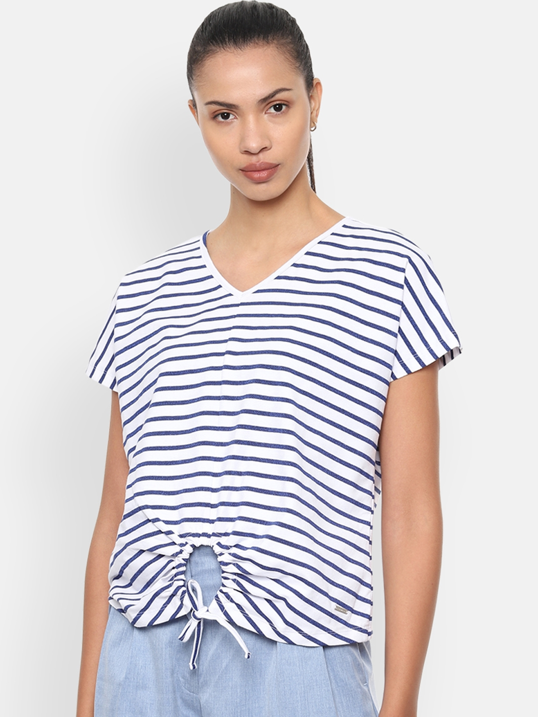 Van Heusen Woman White   Blue Striped Top