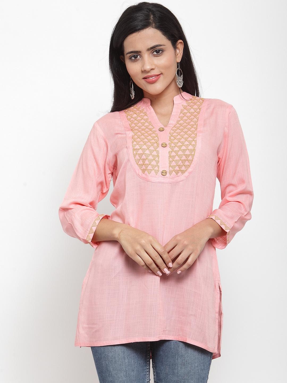Kiaasa Women Pink Mandarin Full Sleeve Embroidered Top