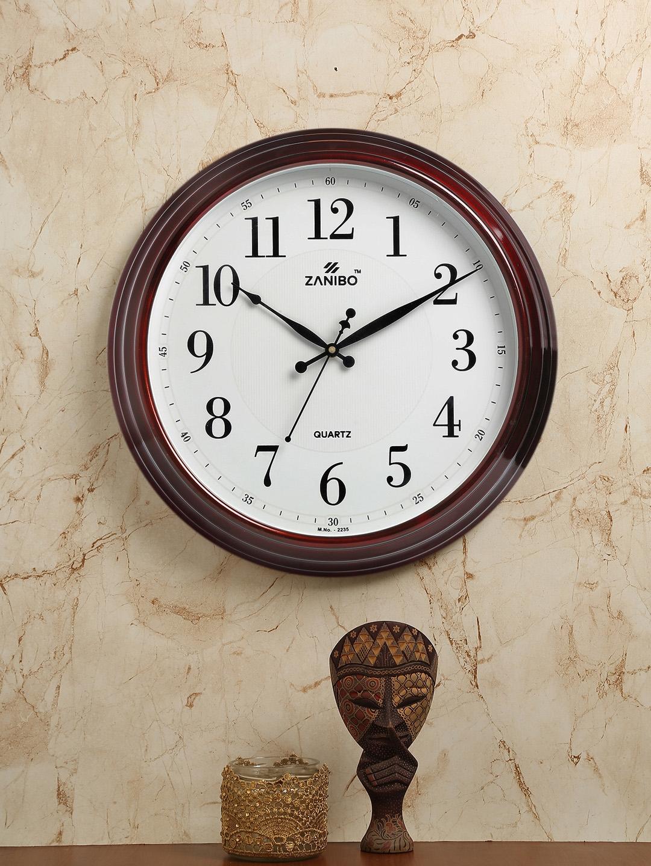 ZANIBO White Round Printed Analogue Wall Clock 38 cm