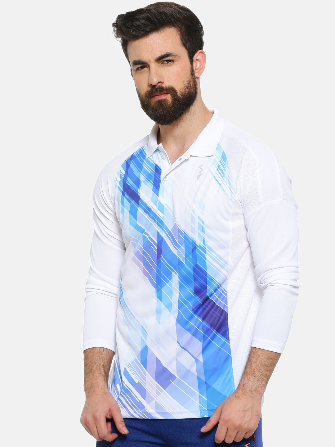 Campus Sutra Men White   Blue Printed Polo Collar T shirt