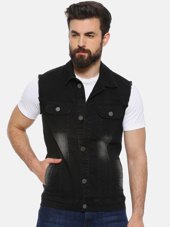 Campus Sutra Men Black Solid Denim Jacket Jacket