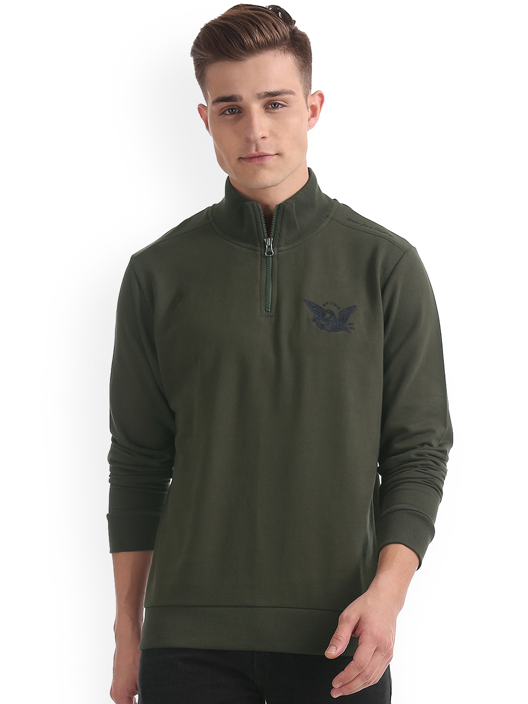 Arrow Blue Jean Co. Men Olive Green Solid Sweatshirt